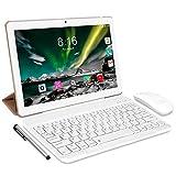 Tablet Android 10.0 - TOSCIDO Tablets 10 Zoll 4 GB/RAM,64 GB/ROM Tablet PC,5000mAh Akku,Dual SIM,WiFi Unterstützung Bluetooth Tastatur |Maus|X109 Tablet Cover und Mehr Enthalten - Gold