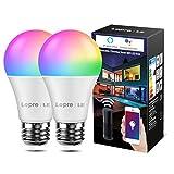 LE Smarte Glühbirnen E27, 9W WiFi Lampe Smarthome Glühbirnen, 806lm WLAN Licht Bulb Light, Mehrfarbige Dimmbare Birne, Smart LED E27, App Steuern Kompatibel mit Alexa Echo, Google Home, 2 Pack
