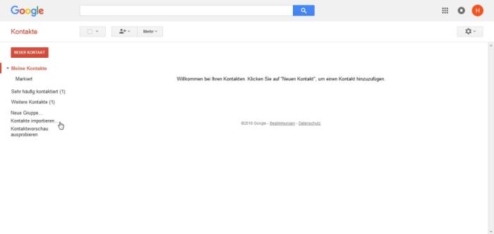 Apple Kontakte zu Android übertragen - Klickt auf Kontakte importieren...