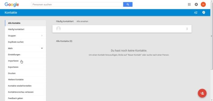 Apple Kontakte zu Android übertragen - Klickt links auf importieren