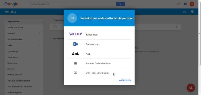 Apple Kontakte zu Android übertragen - Wählt hier Kontakte aus CSV oder vCard-Datei
