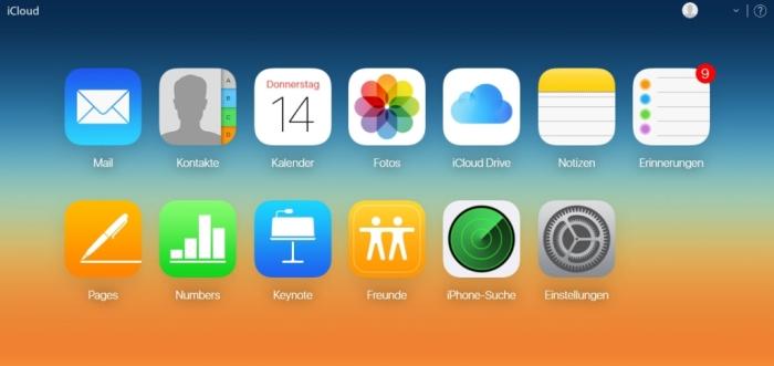 Apple Kontakte zu Android übertragen - Der Startbildschirm im iCloud Konto