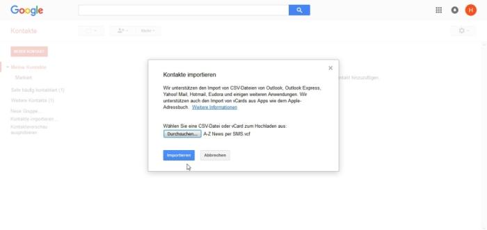 google kontakte auf anderes konto übertragen