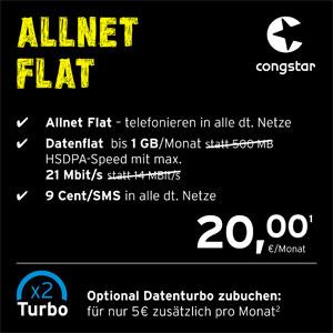 Allnet Flat in alle dt. Netze in bester D-Netz-Qualität - Datenflat bis 1 GB/Monat mit HSDPA-Speed mit max. 21 Mbit/s - 9 Cent pro SMS in alle dt. Netze