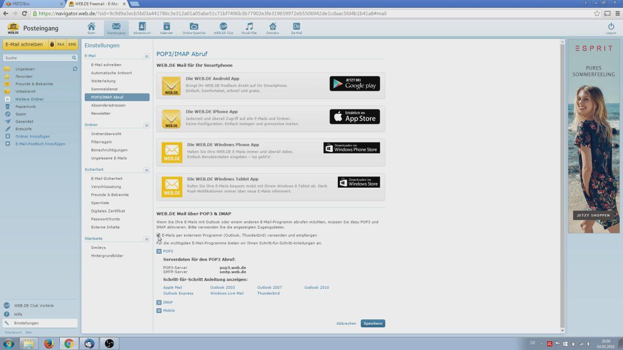 "Einstellungen bei E-Mail-Anbieter ""WEB.DE"" ändern"