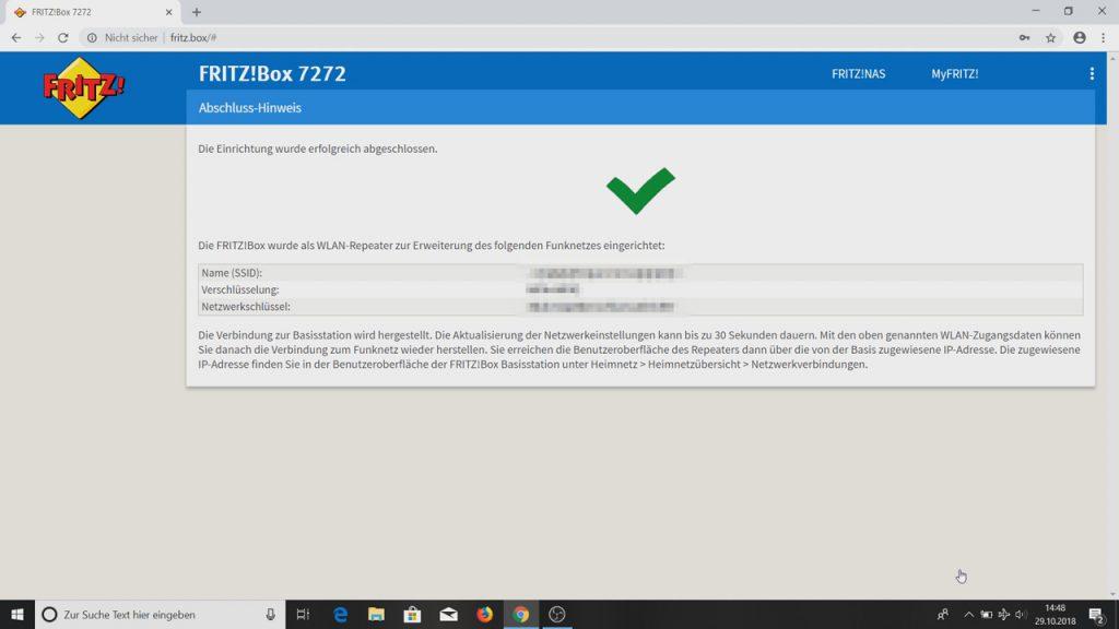 Die Fritzbox wurde erfolgreich als WLAN Repeater eingerichtet - Fritzbox als WLAN-Repeater einrichten