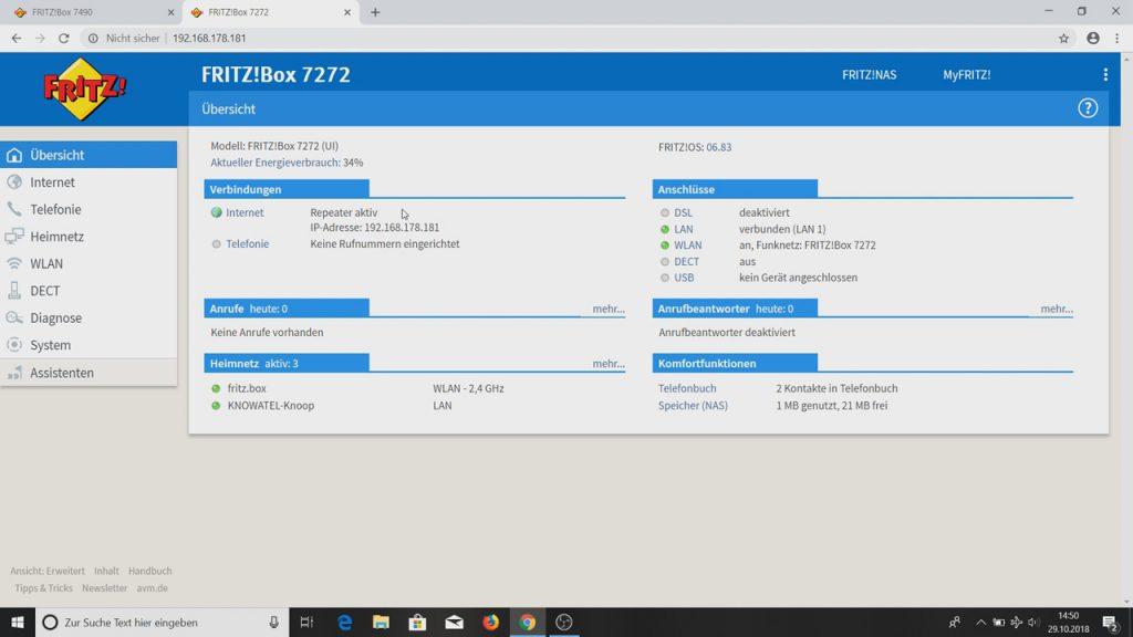Fritzbox Nummer zwei: Repeater aktiv - Fritzbox als WLAN-Repeater einrichten
