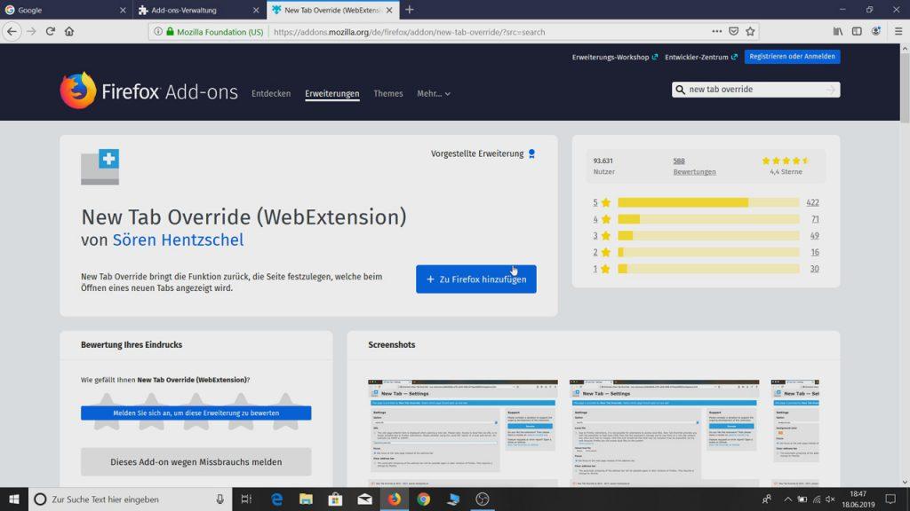 Das Addon New Tab Override zum Firefox hinzufügen - Mozilla Firefox Startseite und Tabs ändern