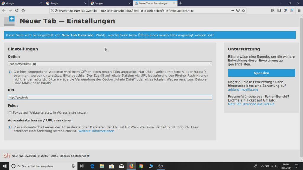 Wunschstartseite für neue Tabs eingeben - Mozilla Firefox Startseite und Tabs ändern