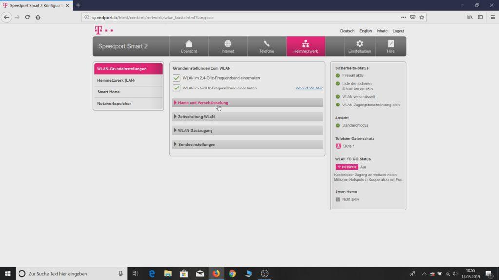 WLAN Grundeinstellungen Name und Verschlüsselung Telekom Speedport Smart Router