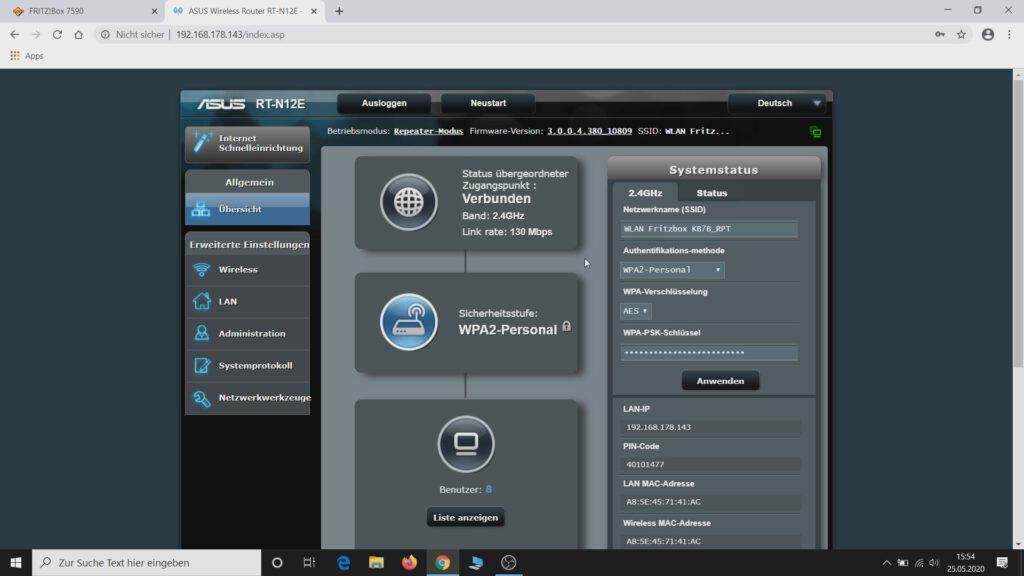 ASUS Router als WLAN Repeater einrichten - Verbindung hergestellt