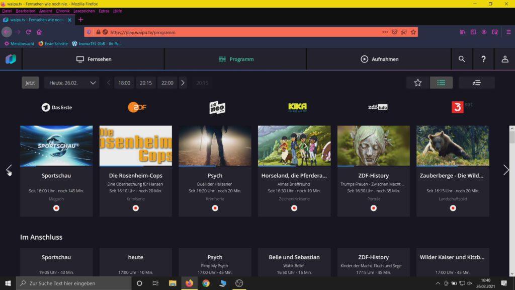 Die Senderübersicht im Browser